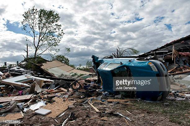 Damage is seen after an EF3 tornado swept through the Pinaire Mobile Home Park on April 15 2012 in Wichita Kansas The storms were part of a massive...