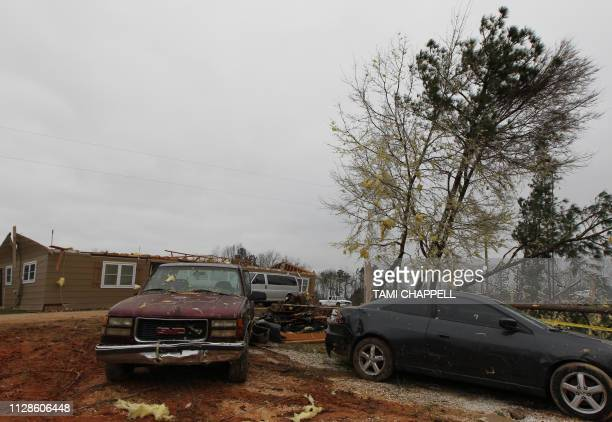 Damage is seen at a home from a tornado which killed at least 23 people in Beauregard Alabama on March 4 2019 Rescuers in Alabama were set to resume...