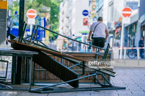 Damage is seen following violent clashes between rioters and police that also led to looting the night before on June 21 2020 in Stuttgart Germany...