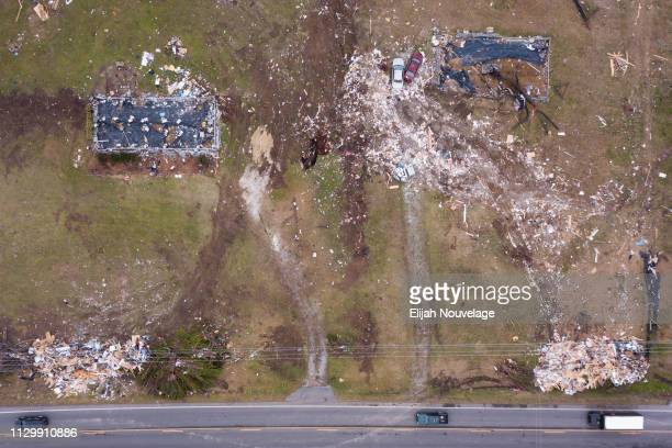 Damage is seen from a drone in the aftermath of an EF4 tornado on March 11 2019 in Beauregard Alabama Numerous tornado touchdowns were reported in...