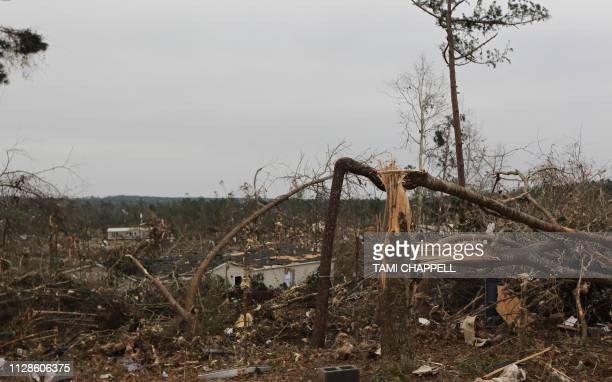 Damage is seen from a tornado which killed at least 23 people in Beauregard Alabama on March 4 2019 Rescuers in Alabama were set to resume search...