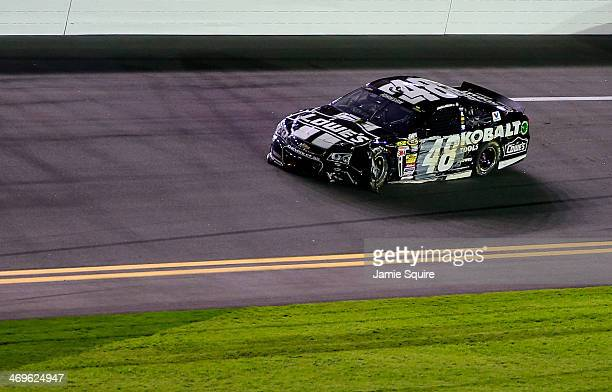 Damage is seen on the car of Jimmie Johnson driver of the Lowe's/Kobalt Tools Chevrolet after a crash during the NASCAR Sprint Cup Series Sprint...
