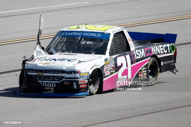 Damage is seen on the ISM Connect Chevrolet driven by Johnny Sauter after an ontrack incident during the NASCAR Camping World Truck Series...