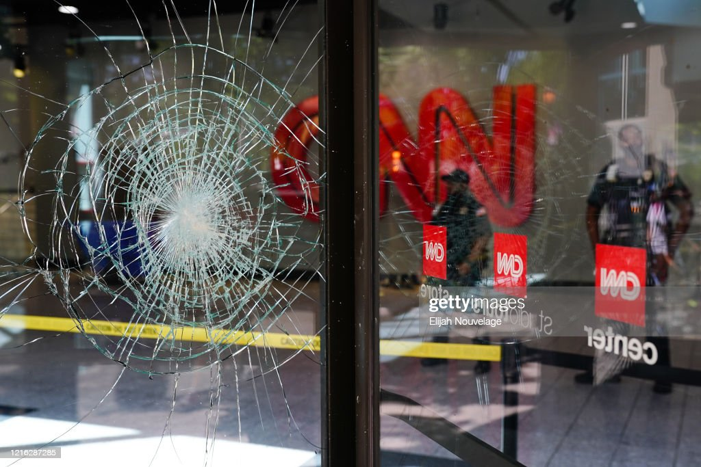 Damage Is Seen To Cnn Center Following An Overnight Demonstration News Photo Getty Images