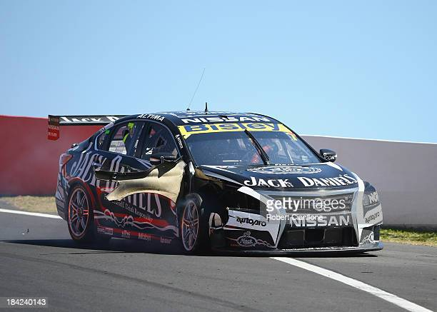 Damage is seen to the car of David Russell driving the Jack Daniel's Racing Nissan during the Bathurst 1000 which is round 11 of the V8 Supercars...