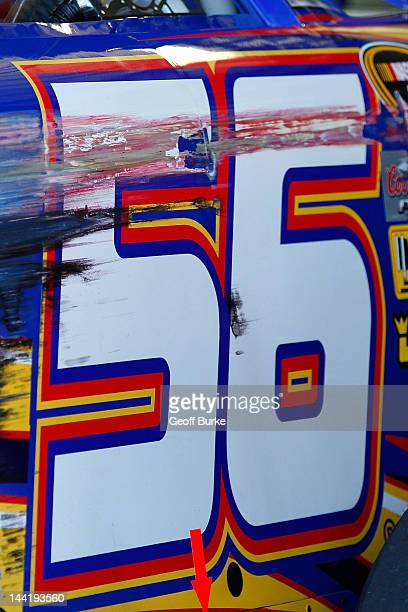 Damage is seen to the NAPA Auto Parts Toyota driven by Martin Truex Jr after hitting the wall during practice for the NASCAR Sprint Cup Series...