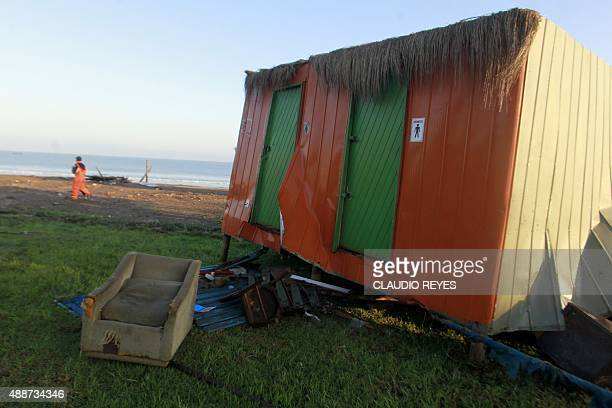 Damage on the beach in Concon some 110 km northwest of Santiago on September 17 2015 hit by an earthquake on the eve A powerful 83magnitude...