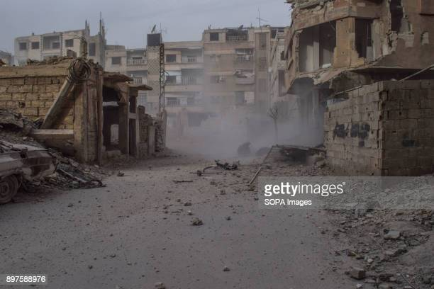 Damage seen by the shelling The city of Douma was targeted today by Syrian government shelling from the countryside of Damascus with heavy artillery...
