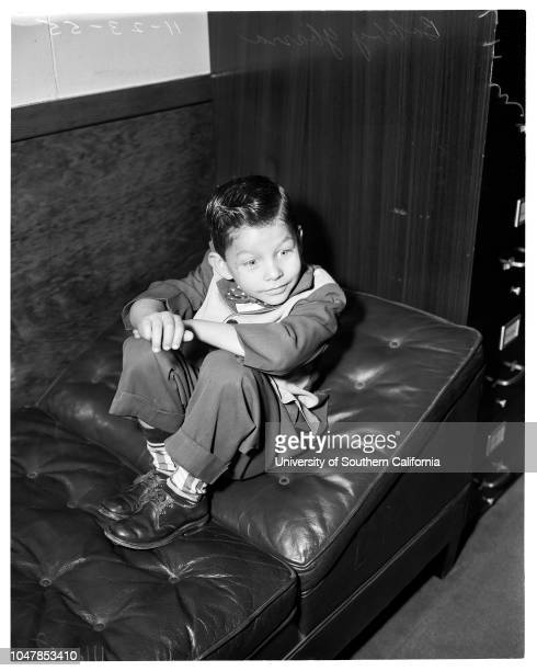 Damage suit settlement 23 November 1955 Bobby Ybarra 5 years oldCaption slip reads 'Photographer Mitchell Date Reporter Keating Assignment Damage...