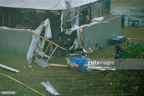 Damage to a broadcast tower caused by the bomb that detonated among Olympic revellers in Atlanta's Centennial Olympic Park during the 1996 Summer...