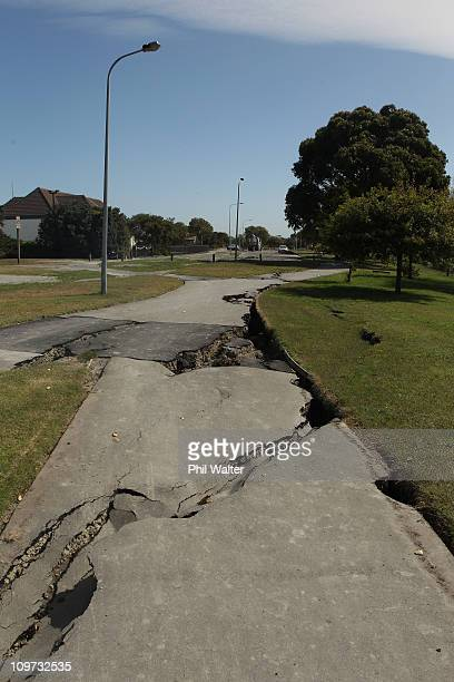 Damage to a footpath resulting from last week's Christchurch earthquake along the River Avon on March 4 2011 in Christchurch New Zealand The death...