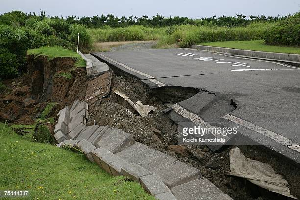 Damage to a road caused by yesterday's magnitude 6.8 earthquake, on July 17, 2007 in Kashiwazaki, Niigata Prefecture, Japan. Nine people have died...