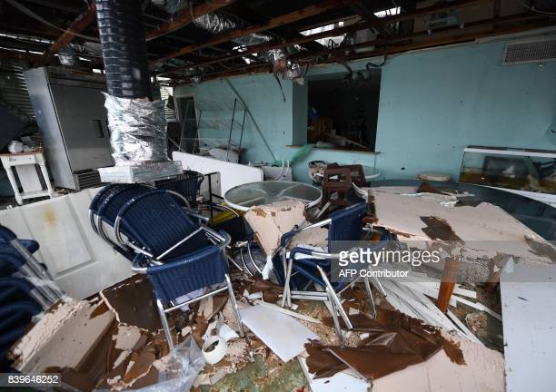 Damage to a store after Hurricane Harvey hit Rockport Texas on August 26 2017 / AFP PHOTO / Mark RALSTON