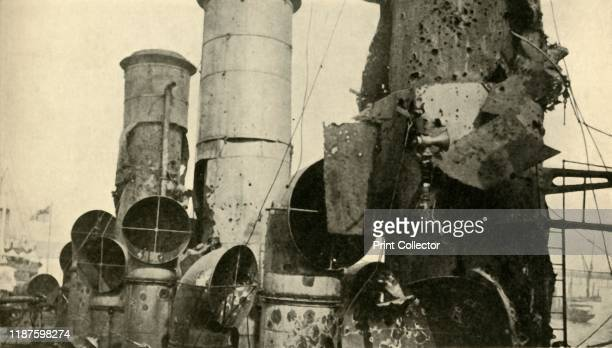 Damage to HMS 'Vindictive' First World War 'The Vindictive's Battle Scars view showing her condition on returning from Zeebrugge Raid' 'Vindictive' a...