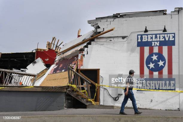 Damage to the Basement East music venue near the Five Points area is seen on Thursday March 05 2020 in Nashville TN Tornados hit the area early...