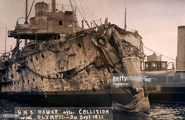 Damage to the British warship HMS Hawke after its collision with the RMS Olympic off the Isle of Wight on 20th September 1911