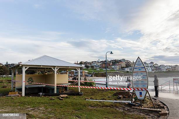Damage to the Bronte Beach foreshore on June 6 2016 in Sydney Australia Torrential rain over the weekend saw streets and homes flooded while wind...