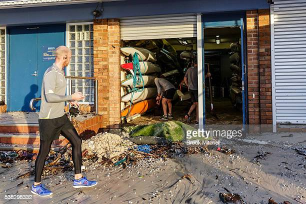 Damage to the Bronte Surf Life Saving Club on June 6 2016 in Sydney Australia Torrential rain over the weekend saw streets and homes flooded while...