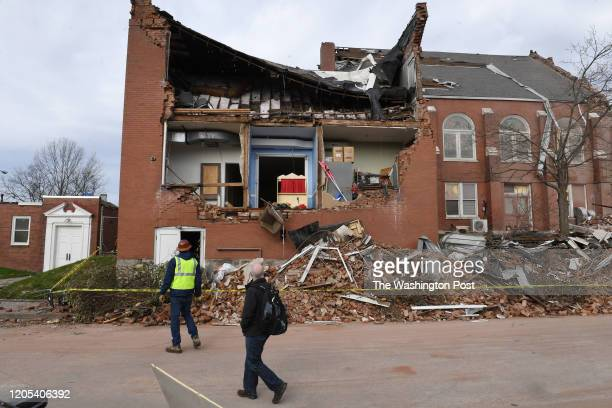 Damage to the East End United Methodist Church in the Five Points area is seen on Thursday March 05 2020 in Nashville TN Tornados hit the area early...