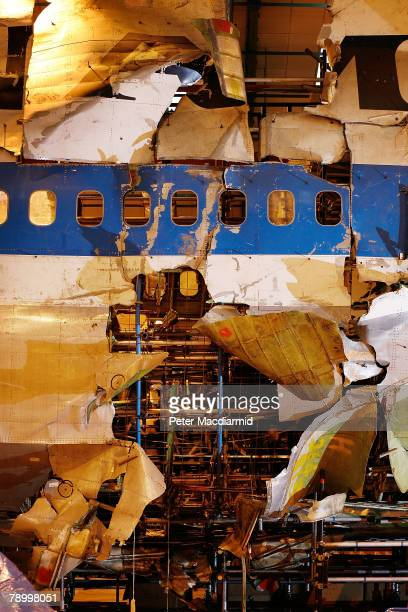 Damage to the fuselage of Pan Am flight 103 shows where the initial blast took place on January 15 2008 in Farnborough England The Air Accident...