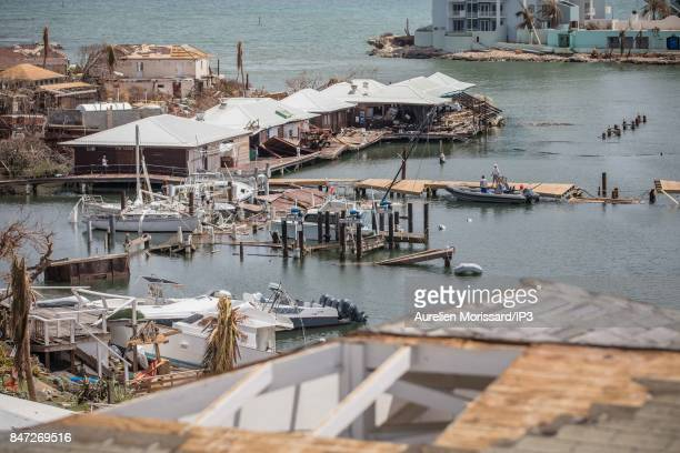 Damage to the marina of the Oyster Pond district on the Dutch side nine days after the passage of hurricane IRMA on September 14 2017 in SaintMartin...