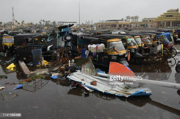 Damaged auto rickshaws seen after Cyclone Fani on May 4 2019 in Puri India At least 12 people are reported to have died and more than a thousand...