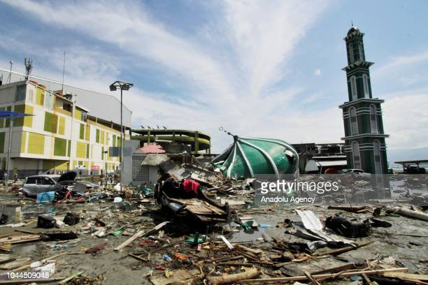 Damaged Baiturrahman mosque is seen after being hit by the earthquake and tsunami waves in the city of Palu Central Sulawesi Indonesia on 2 October...