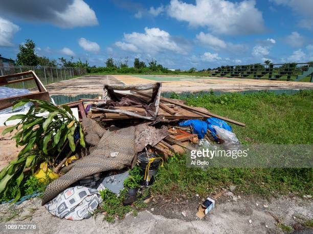 A damaged basketball court is shown after it was wiped out by Hurricane Maria on November 11 2018 in the Hong Kong neighborhood of Rio Grande Puerto...