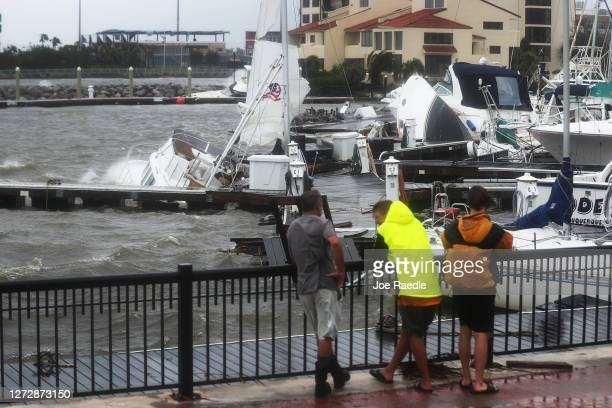Damaged boats are seen in the Palafox Pier Yacht harbor marina after Hurricane Sally passed through the area on September 16 2020 in Pensacola...