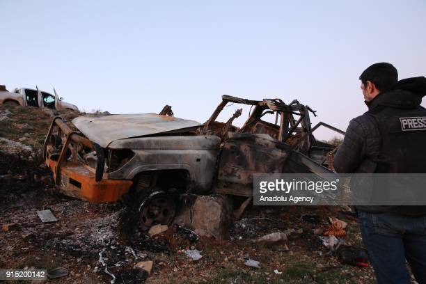 A damaged bombladen vehicle belonging to PYD/PKK terrorists is seen after it was destroyed with tank shot by Turkish Army Forces for hindrance the...