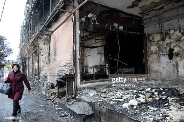 Damaged branch bank is seen after petrol price hike protests in Karaj district's Pardis town in Tehran, Iran on November 20, 2019.