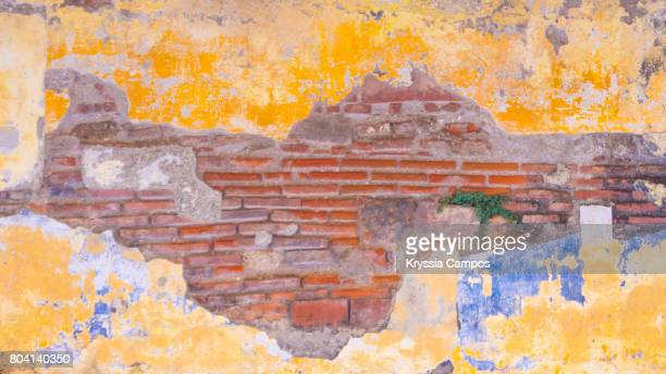 Damaged Brick Wall Texture in Antigua Guatemala, black and White