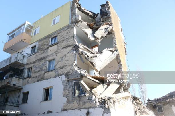 A damaged building is seen after 64magnitude earthquake hit Albania's Durres city on November 26 2019