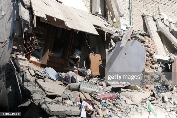 Damaged building is seen after 6.4-magnitude earthquake hit Albania's Durres city on November 26, 2019.