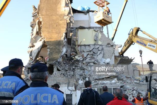 Damaged building is seen after 6.4-magnitude earthquake hit Albania's Durres city on November 26, 2019. 6.4 magnitude earthquake hit western Durres...