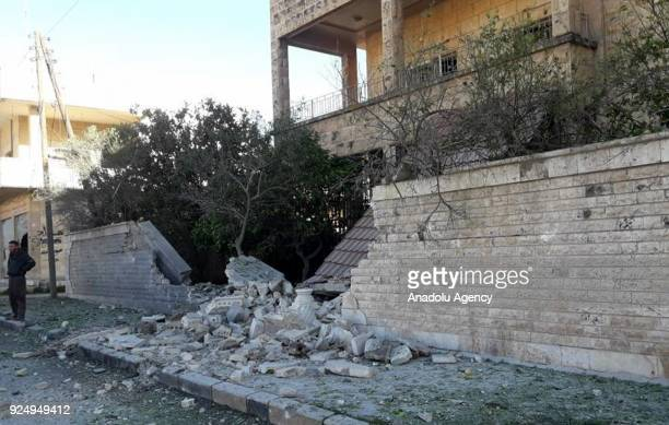 A damaged building is seen after Assad Regime carried out an airstrike to Han Seyhun of Idlib Syria on February 27 2018 The UN Security Council on...