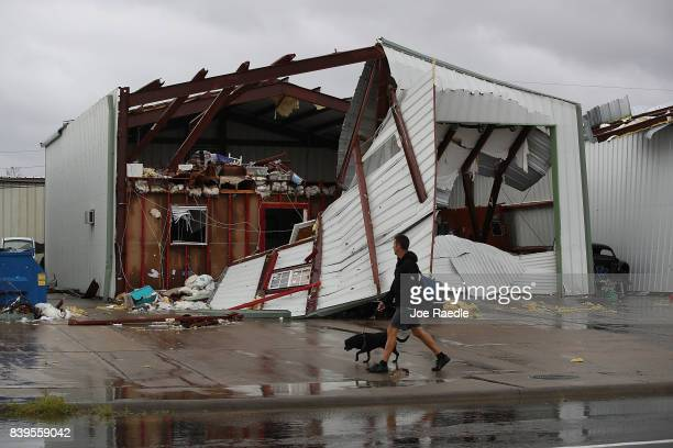 A damaged building is seen after Hurricane Harvey passed through on August 26 2017 in Rockport Texas Harvey made landfall shortly after 11 pm Friday...