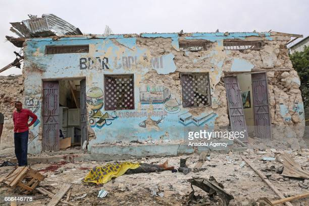 Damaged building is seen at a scene after a bomb attack targeting the Armed Forces Command near the Defense Ministry in Mogadishu, Somalia on April...
