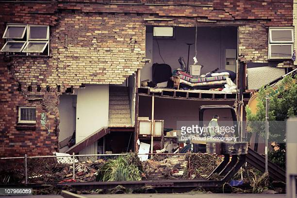 A damaged building is seen in central Toowoomba between 1500 and 1700 hours AEST following a flash flood which ripped through the town centre on...