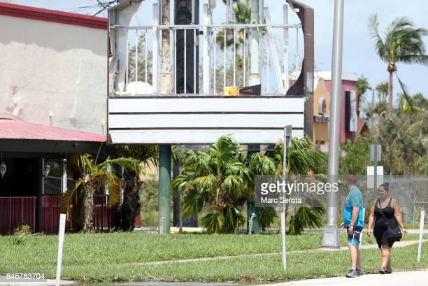 A damaged building is shown in the wake of powerful Hurricane Irma on September 11 2017 in Key Largo Florida Irma made landfall as a Category 4 storm...
