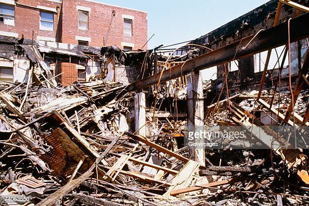 Damaged building, South Los Angeles, Los Angeles, California, USA