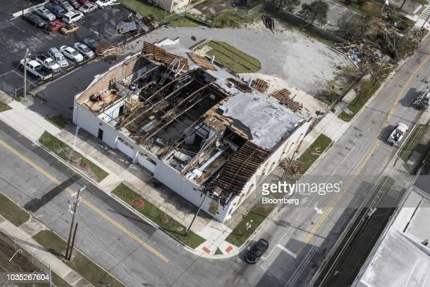 A damaged building stands in the Smiths Creek Industrial Park in this aerial photograph taken after Hurricane Florence hit in Wilmington North...