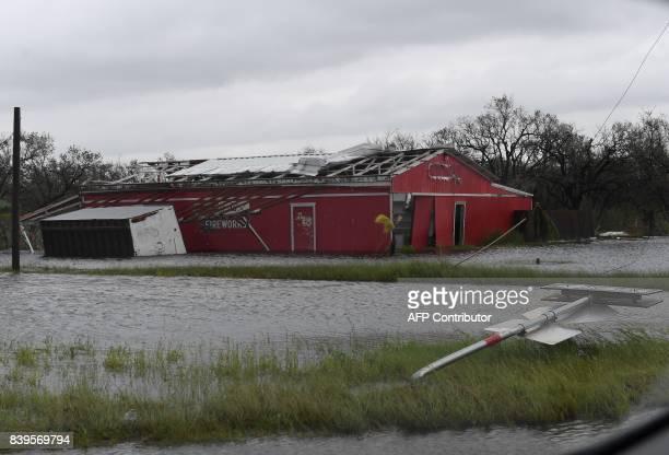 Damaged buildings after heavy damage when Hurricane Harvey hit Rockport Texas on August 26 2017 Hurricane Harvey left a trail of devastation Saturday...