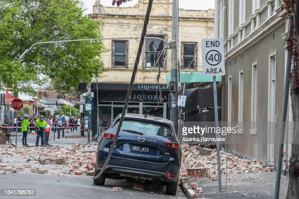 Damaged buildings along Chapel Street are seen following an earthquake on September 22, 2021 in Melbourne, Australia. A magnitude 6.0 earthquake has...