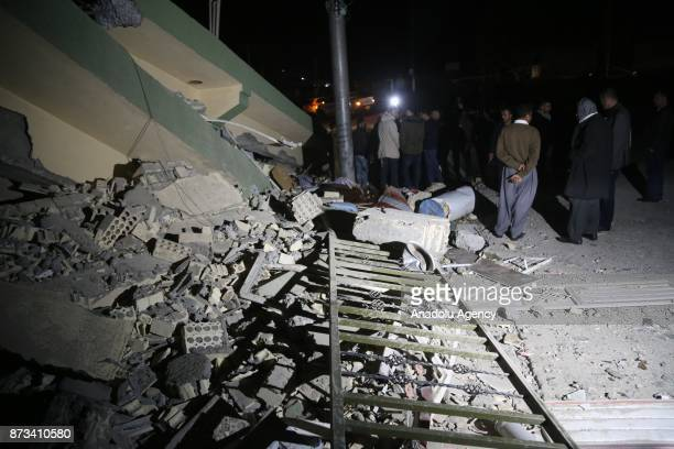 Damaged buildings are seen after a 73 magnitude earthquake hit northern Iraq in Derbendihan district of Sulaymaniyah Iraq on November 12 2017 An...