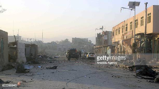 Damaged buildings are seen after a bomb attack on German consulate general in MazariSharif Afghanistan on November 11 2016 At least 4 people were...