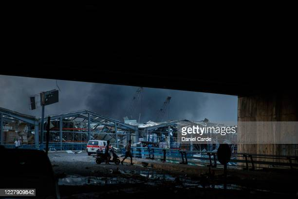 Damaged buildings are seen after a large explosion on August 4, 2020 in Beirut, Lebanon. Video shared on social media showed a structure fire near...
