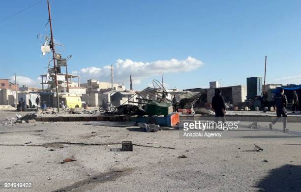 Damaged buildings are seen after Assad Regime carried out an airstrike to Han Seyhun of Idlib Syria on February 27 2018 The UN Security Council on...
