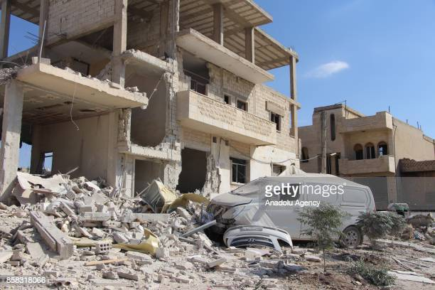 Damaged buildings are seen after Assad regime's airstrikes hit the town of Khan Shaykhun in Idlib in Syria on October 6 2017 At least 8 people killed...