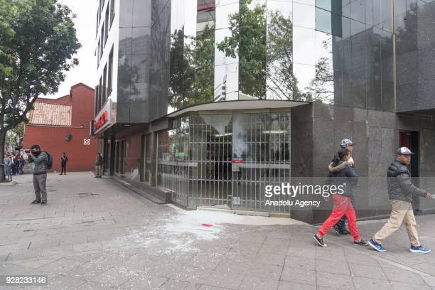 Damaged buildings are seen after clashes broke out between students and riot police during a protest due to dissatisfaction of educational centers...
